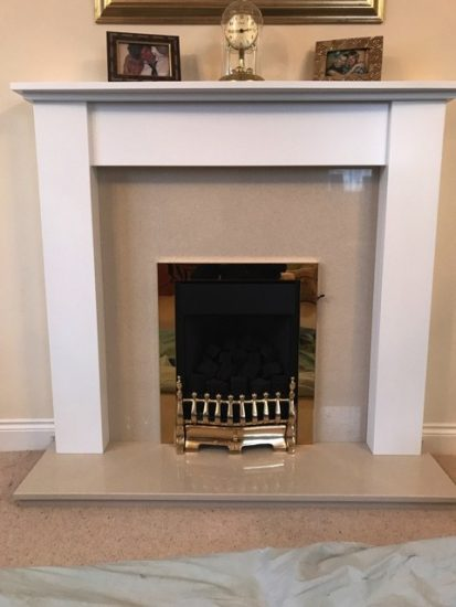 Replacement Wood & Marble Fireplace with Inset Gas Fire