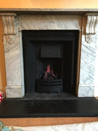 Victorian Cast Fireplace refurbishment with replacement Decorative Gas Fire