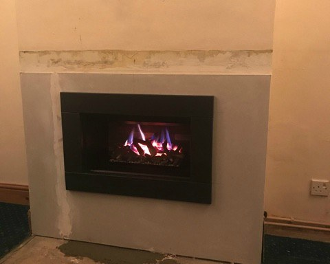 Modern 'Hole-in-the-Wall' style Gas Fire Installation