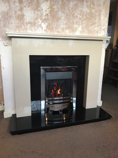 Simple and modern replacement Marble & Granite Fireplace & Gas Fire Suite