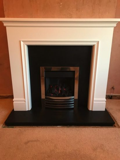 Classic Painted Mantelpiece with Honed Black Granite and Inset Gas Fire